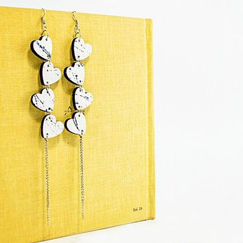 Wooden hearts lightweight jewelry White wooden bohemian earrings white blue earrings multi chain jewelry