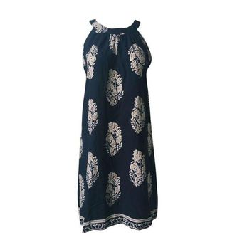 Off Shoulder Clothing Bohemian Printing Leaves Sleeveless Short Dress Halter Women Beach Dress Vestidos Vintage#B725