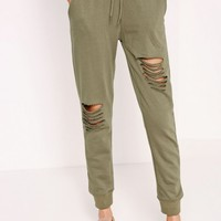 Missguided - Ripped Front Joggers Khaki