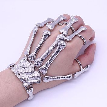 Nightclub Gothic Punk Skull Finger Bracelets for Women Skeleton Bone Hand Bracelets Bangles Christmas Halloween Gift