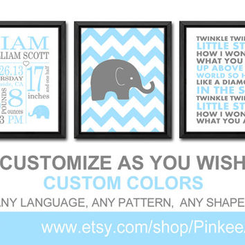 elephant custom birth stats baby birth details twinkle twinkle nursery boy baby stats birth art print gift for new parents baby wall decor