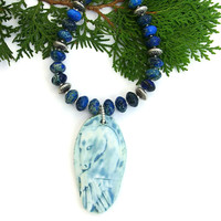 Spirit Horse Pendant Necklace, Blue Jasper Gemstone Artisan Handmade Jewelry