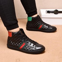 GUCCI Men Fashion Black Lace-up boots Casual Retro Sneakers Shoes 2019 Best Quality