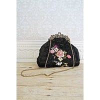 Midnight Black Embroidered  Kiss-Lock Bag