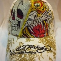 Ed hardy hat hiphop adjustable canvas cap baseball cap skull tiger embroidered logo