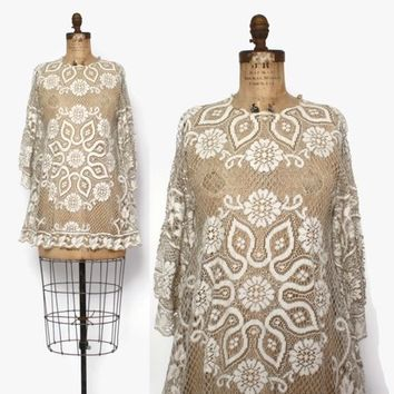 Vintage 70s Lace Cut-Out Dress / 1970s Sheer Angel Sleeve Boho Festival Mini Dress