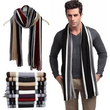 Winter scarf men faux striped knitted scarves with tassel,fashion Business designer scarfs cotton shawl, charpe