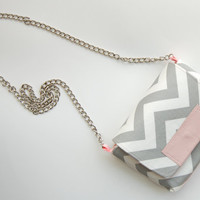 SALE MAROL Cross body in gray chevron with pink by ao3designs