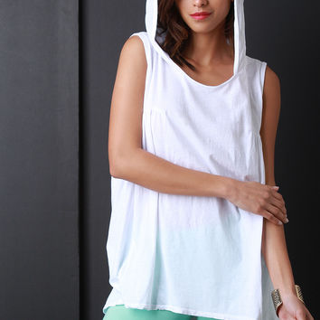 Sleeveless Jersey Knit High Low Hooded Top