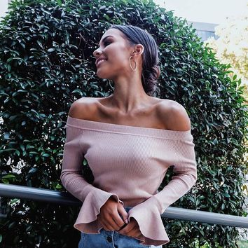 Women Simple Solid Color Knit Pagoda Sleeve Long Sleeve Off Shoulder Bodycon Tops