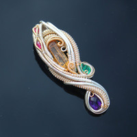Imperial Topaz, Emerald, Amethyst, Ruby ,Silver and gold elegant heady wire wrap