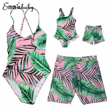 One Piece Family Matching Swimsuit Mother Daughter Leaves Swimwear Bikini Sets Family Swimsuit