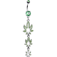 Green Cubic Zirconia Pot Leaf Dangle Belly Ring | Body Candy Body Jewelry