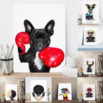 Nordic Style Boxing Dog Canvas Art Print Painting Poster Funning Cartoon Animal Wall Pictures for Kids Room Decoration No Frame