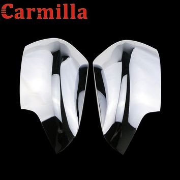 Carmilla ABS Chrome Car Rear View Mirror Reffing Cover Parts Sticker for Ford Everest Endeavour Raider 2016 2017 2018 Acc.