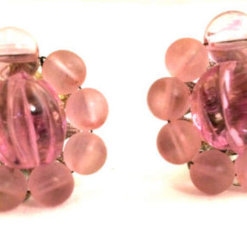 Purple Pink Translucent Frosted Plastic Beads Floral Vintage Clip on Earrings