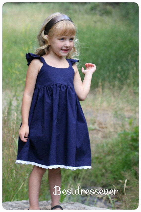 d5a52228b Girls Navy blue dress - Toddler Dress - from BestDressEver on