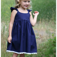 Girls  Navy blue dress - Toddler  Dress - Flutter sleeves - Country dress- humming bird dress - Birthday - Special Occasion - Flower Girl