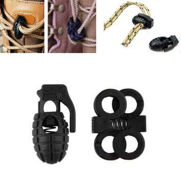 Shoelace Shoe Lace Grenade Buckle Stopper Rope Clamp Paracord Lock Camp Hike Outdoor S