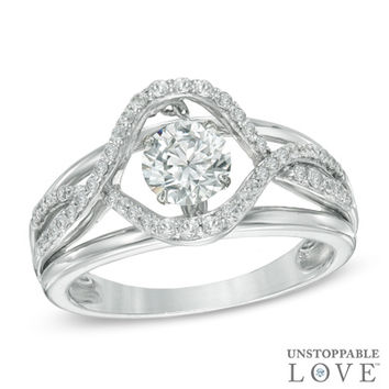 Unstoppable Love™ 6.0mm Lab-Created White Sapphire Swirl Ring in Sterling Silver - Size 7