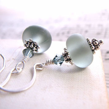 Quarry blue grey lampwork glass earrings sterling by shadowjewels