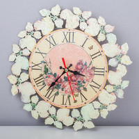 Wall clock Shabby chic Home decor Wall art Decoupage New item Royal gift House-warming Spring flowers Red roses Gift for her Clocks Watch