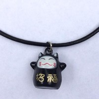 Black Lucky Cat Choker
