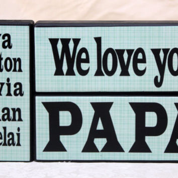 We Love Grandpa Personalized with Grandchildren Names Wood Blocks Gifts