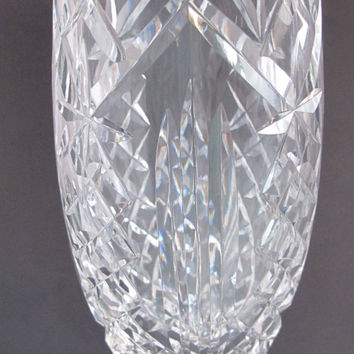Waterford CUT GLASS  signed vase  footed old cut in Ireland