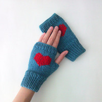 Hand Knit Fingerless Gloves in Dusty Blue - Red Embroidered Heart - Denim Blue Seamless Knit Gloves - Wool Blend