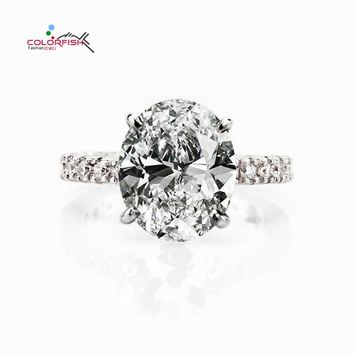 COLORFISH Oval Cut 5ct Solitaire Engagement Ring Luxury Full Prongs Set Wedding Band Jewelry 925 Sterling Silver Women Rings