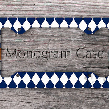 Monogrammed License Plate Frame - Blue Diamonds pattern with Orange, personalized license frame, custom gift idea - 157