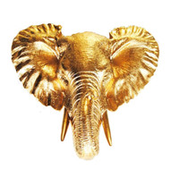Small Gold Elephant Head Bust Wall Hanging, Resin Elephant Head