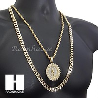 "ICED OUT MEDALLION PRAYING HANDS DIAMOND CUT 30"" CUBAN CHAIN NECKLACE SET G11"