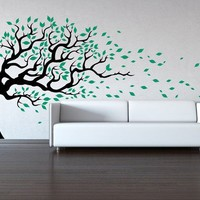 Tree Wall Decal - Wind Blowing - Wall Sticker Decal Baby Decal Sticker