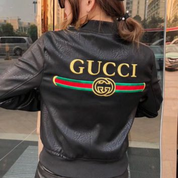 GUCCI New fashion bust embroidery letter and back embroidery letter stripe leather women coat jacket Black