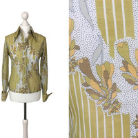 1970's Blouse | 70's Slim Fit Shirt With Dagger Collar | Mustard And White Patterned Shirt