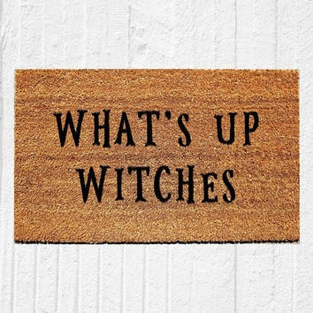 "What's Up Witches Doormat | Welcome Mat | Halloween Door Mat | Halloween Decor | Witch Decor | Fall Decor | Outdoor Rug | 18""x30"" Rug"