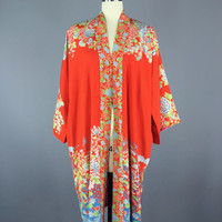 1940s Silk Robe / Vintage Kimono / Vintage Loungewear / Silk Dressing Gown / Art Deco / Chinoiserie Red Floral Print / Downton Abbey