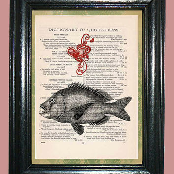 Deep Sea Sharp-toothed Fish with Red Heart - Vintage Dictionary Page Book Art Print Upcycled Page Art Print on Dictionary Page, Fish Print