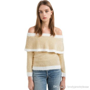 2017091917 Autumn Women's Fuzzy Striped Off Shoulder Sweater Sweet Beige Long Sleeve Jumper Fashion Elegant Pullover Tops