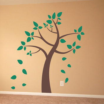 Nursery Tree with Leaves Wall Decal Blowing in the Wind Nature Vinyl Wall Art