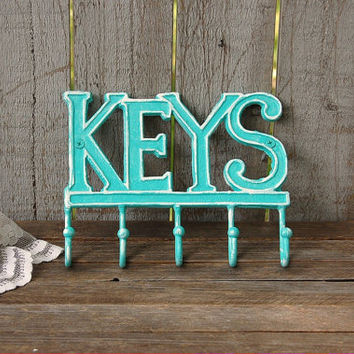 Key Holder, Shabby Chic, Tiffany Blue, Aqua, White, Hand Painted, Cast Iron, Metal, Distressed, Key Rack, Beach Decor