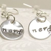Hand Stamped Nerd Earrings - Shiny Mirror Finish - Geeky Gamer Jewelry