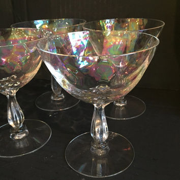 Fostoria Shell Pearl Iridescent Crystal Champagne Coupes Set of 10 Fostoria Crystal Stemware Champagne Glasses,