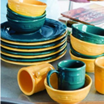 Longaberger Woven Traditions Pottery Dinnerware Soup Salad Bowls Teal Yellow NEW