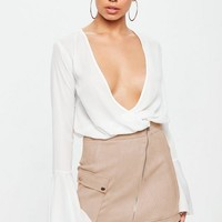 Missguided - Nude Faux Suede Zip Through Mini Skirt
