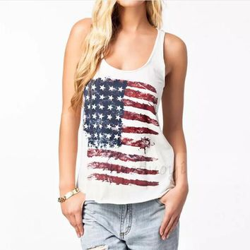 Summer Style Fashion T shirt Women USA American Flag Stripe Print Sleeveless Tank Tops Ladies Casual Cotton Vest Female T-Shirts