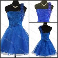 One shoulder with flowers organza sequins cocktail dress