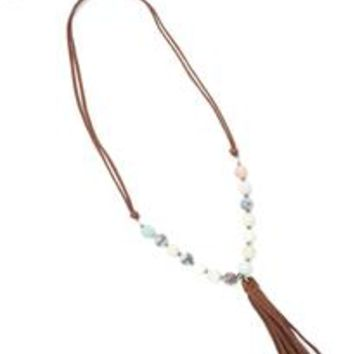 Beaded Long Tassel Necklace by EXCELSIOR